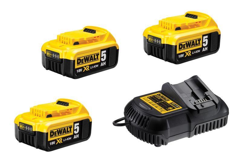 DCB115P3 DeWALT Sada nabíječky a 3x baterií XR Li-Ion 18V 5,0 Ah