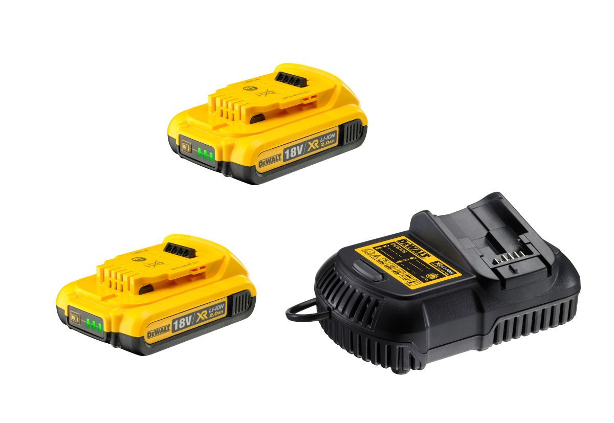 DCB115D2 DeWALT Sada nabíječky a 2x baterií XR Li-Ion 18V 2,0 Ah