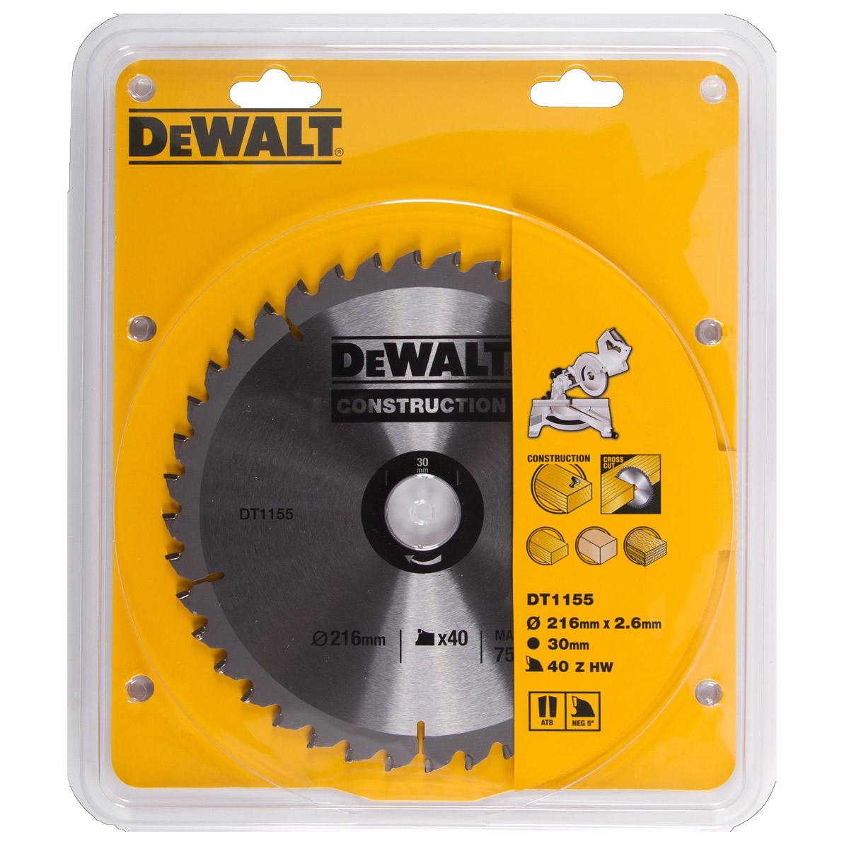 DT1155 DEWALT Pilový kotouč 216 x30mm/40zubů DEWALT SERIE 30 - DT1155