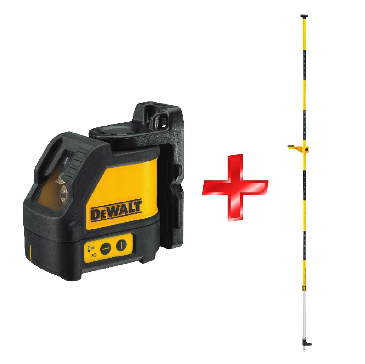 DW088KPOL DeWALT Samonivelační křížový laser s rozpěrnou tyčí DE0882