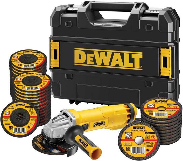 DWE4237KT DeWALT úhlová bruska 125 mm, 1400 W s posuvným spínačem a 35 kotoučů 25x řezný kotouč a 10x brusný kotouč 125 mm