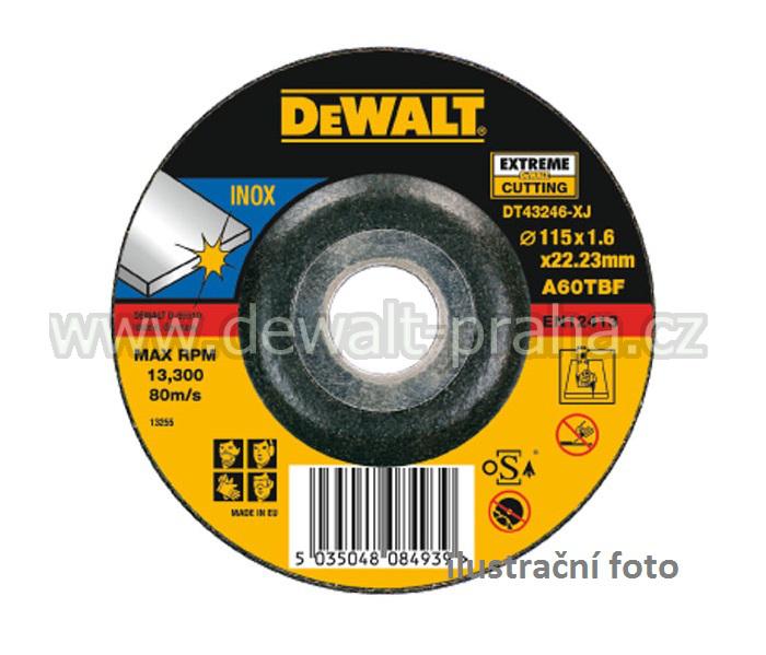 DT43346 DeWALT Řezný kotouč na nerez 125 x 22,2 x 1,6 mm vypouklý Typ 27