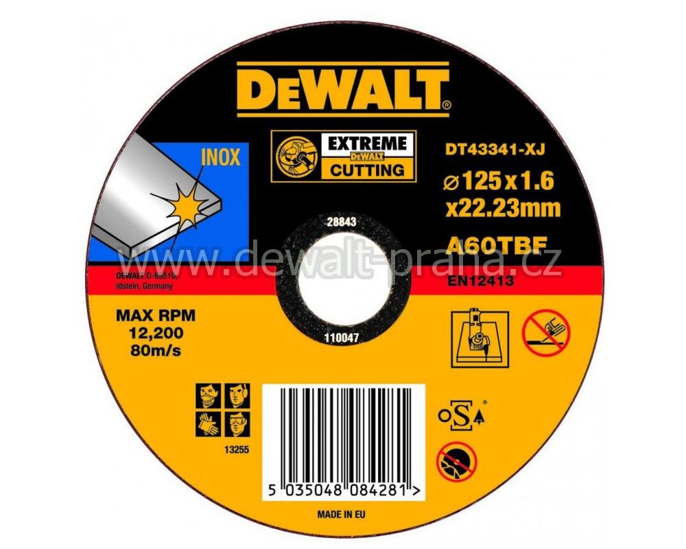 DT43341 DeWALT EXTREME Řezný kotouč na nerez ocel 125 x 1,6 mm plochý Typ 1
