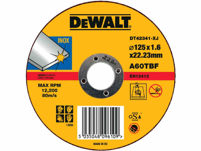 DT42341 DeWALT Řezný kotouč na nerez ocel 125 x 1,6 mm plochý Typ 1