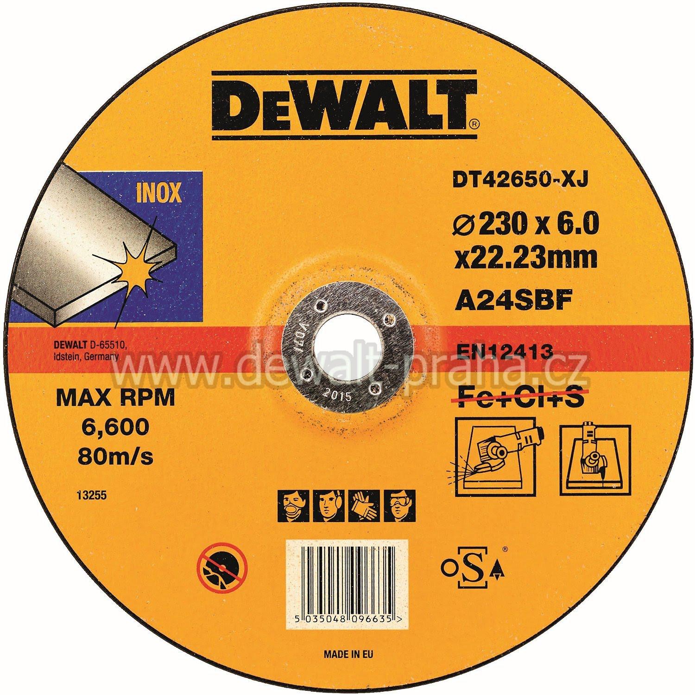 DT42650 DeWALT Brusný kotouč na nerez ocel 230 x 6,0 mm plochý Typ 27
