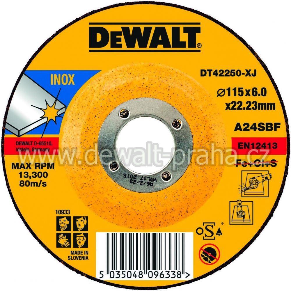 DT42250 DeWALT Brusný kotouč na nerez ocel 115 x 6,0 mm plochý Typ 27