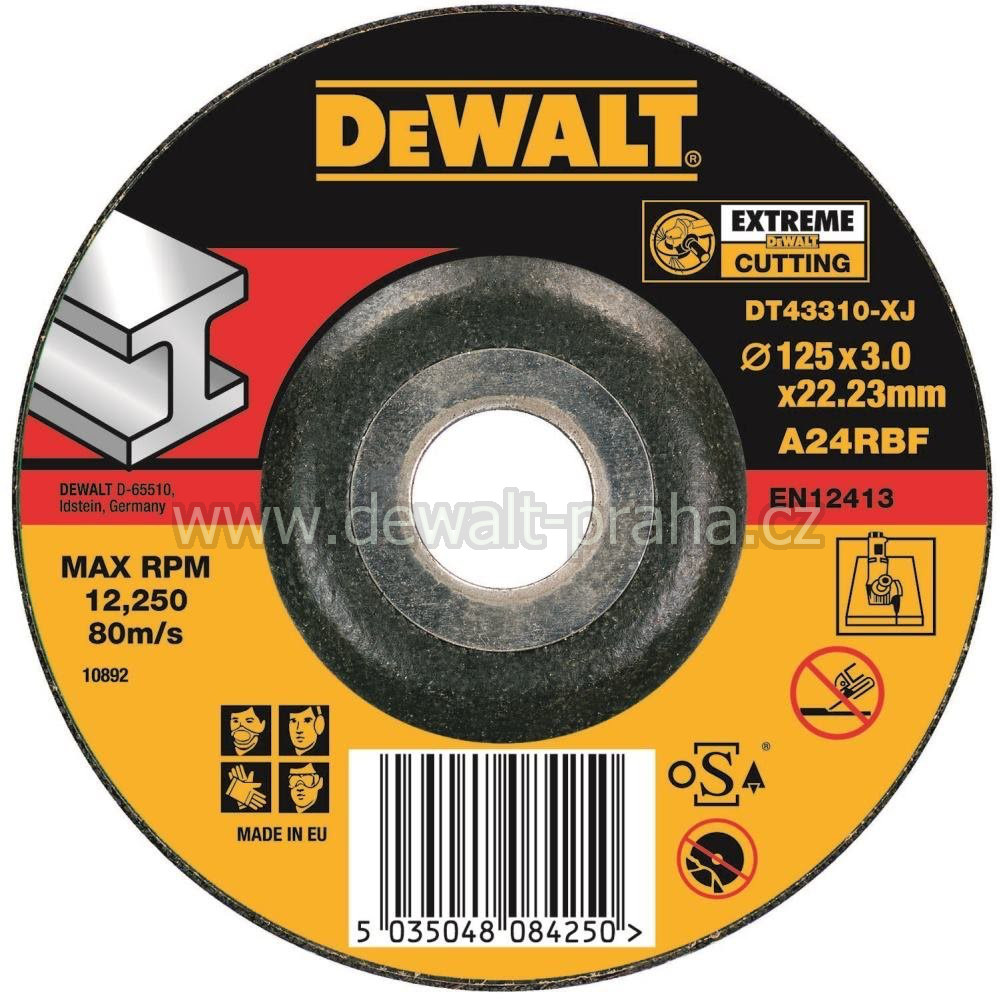 DT43310 DeWALT EXTREME Řezný kotouč na kov 125 x 3,0 mm vypouklý Typ 27