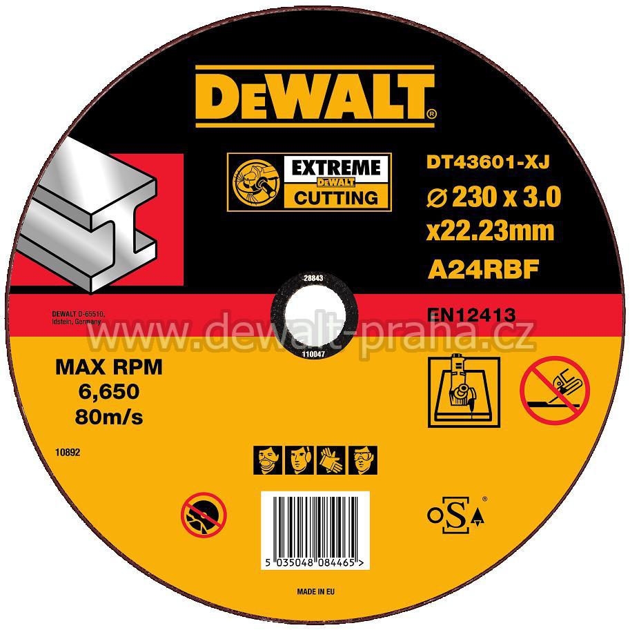 DT43601 DeWALT EXTREME Řezný kotouč na kov 230 x 3,0 mm plochý Typ 1