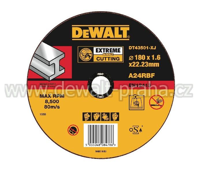 DT43501 DeWALT EXTREME Řezný kotouč na kov 180 x 1,6 mm plochý Typ 1