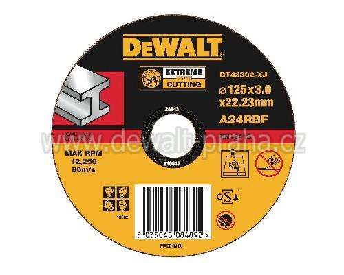 DT43302 DeWALT EXTREME Řezný kotouč na kov 125 x 3,0 mm plochý Typ 1