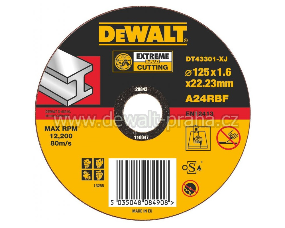 DT43301 DeWALT EXTREME Řezný kotouč na kov 125 x 1,6 mm plochý Typ 1