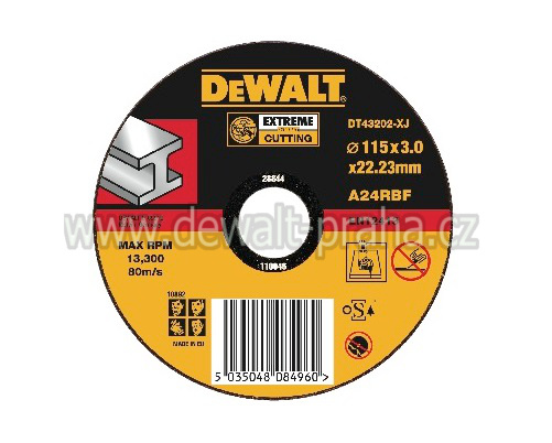 DT43202 DeWALT EXTREME Řezný kotouč na kov 115 x 3,0 mm plochý Typ 1