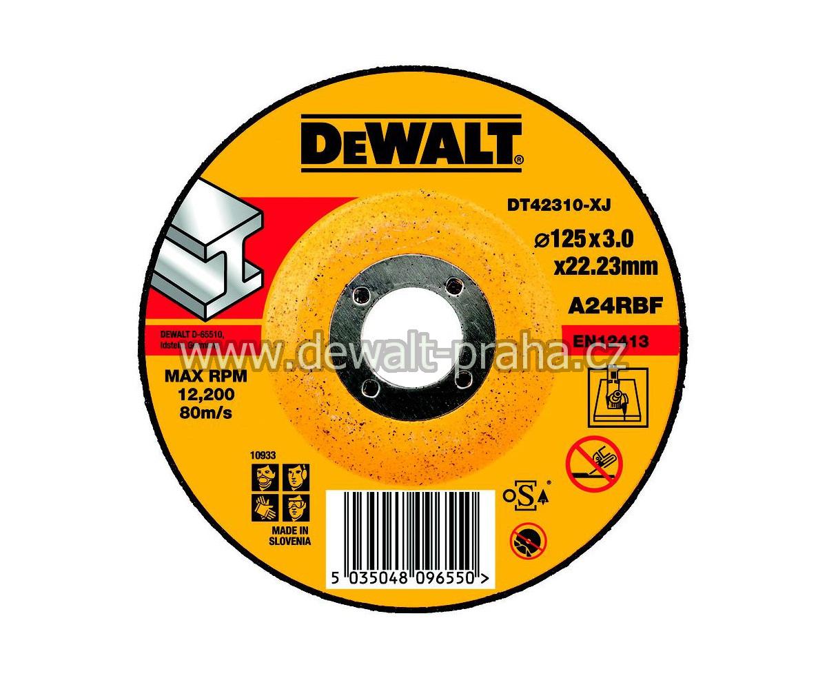 DT42310 DeWALT Řezný kotouč na nerez 125 x 3,0 mm vypouklý Typ 27