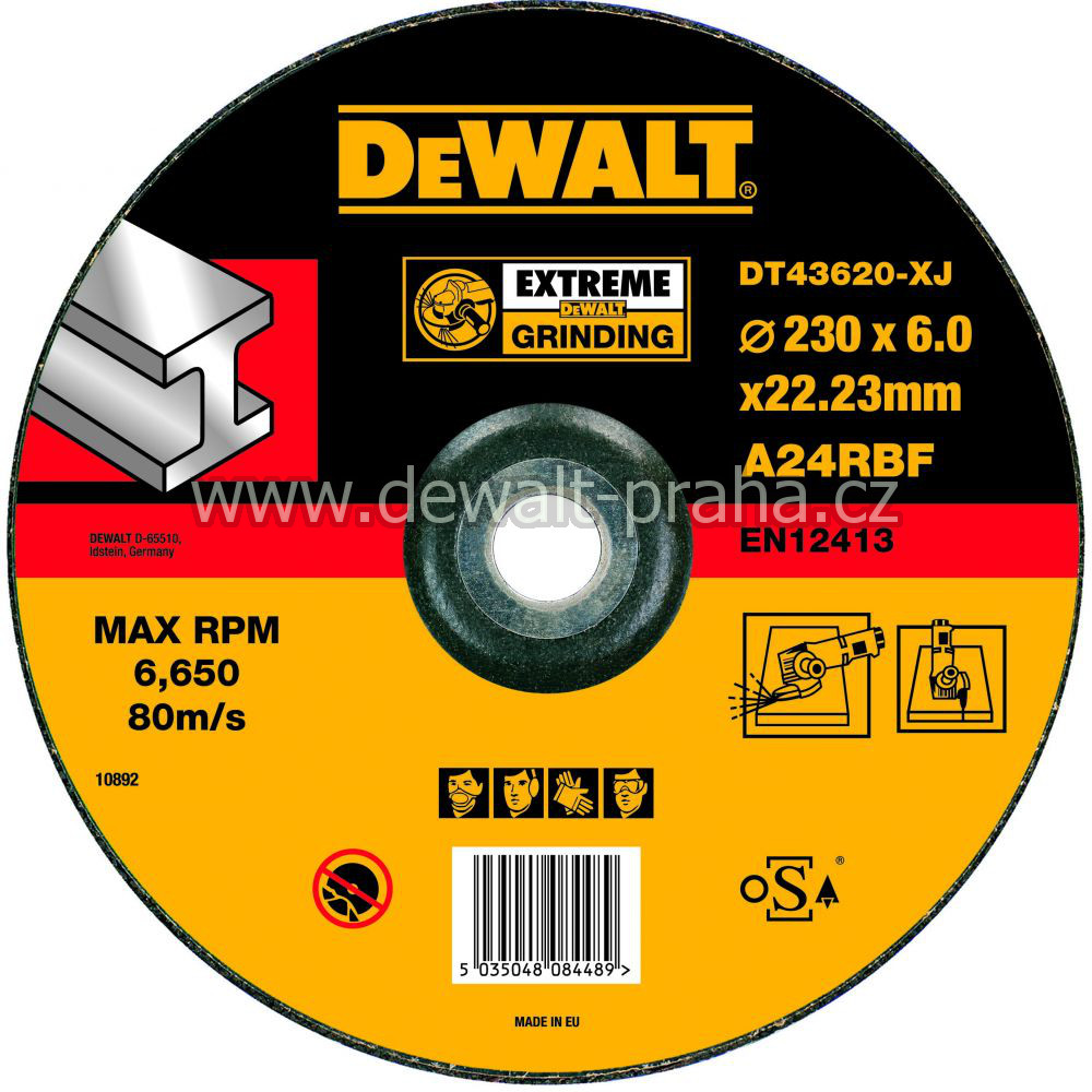 DT43620 DeWALT EXTREME Brusný kotouč na kov 230 x 6,0 mm vypouklý Typ 27