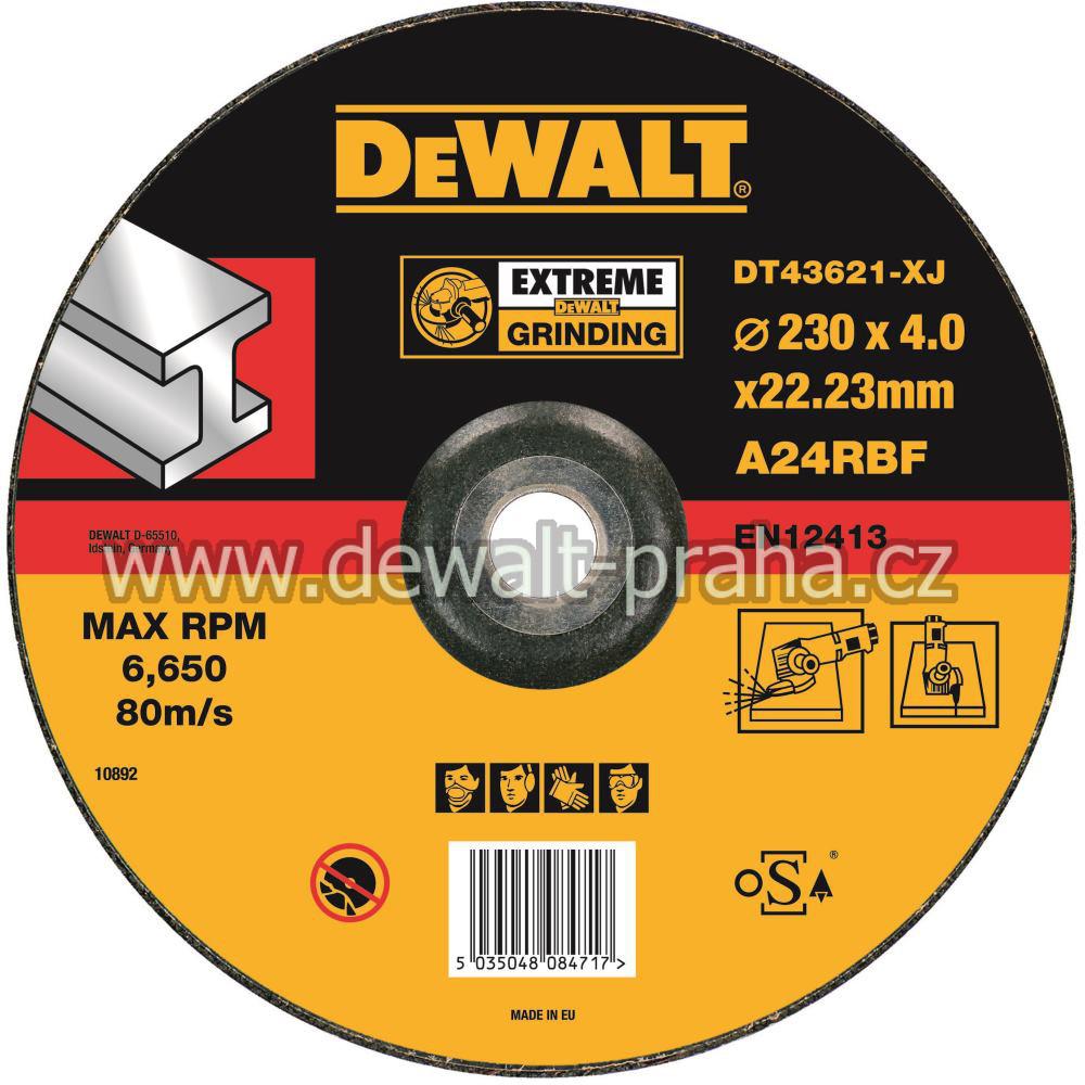 DT43621 DeWALT EXTREME Brusný kotouč na kov 230 x 4,0 mm vypouklý Typ 27