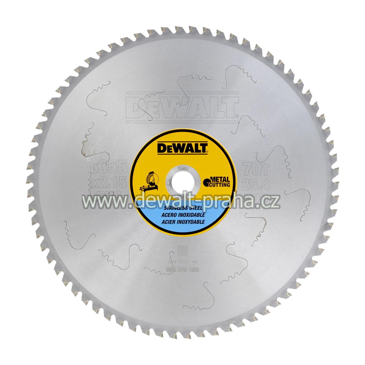 DT1921 DeWALT Pilový kotouč 355 x 25,4 mm na nerez ocel, 70 zubů