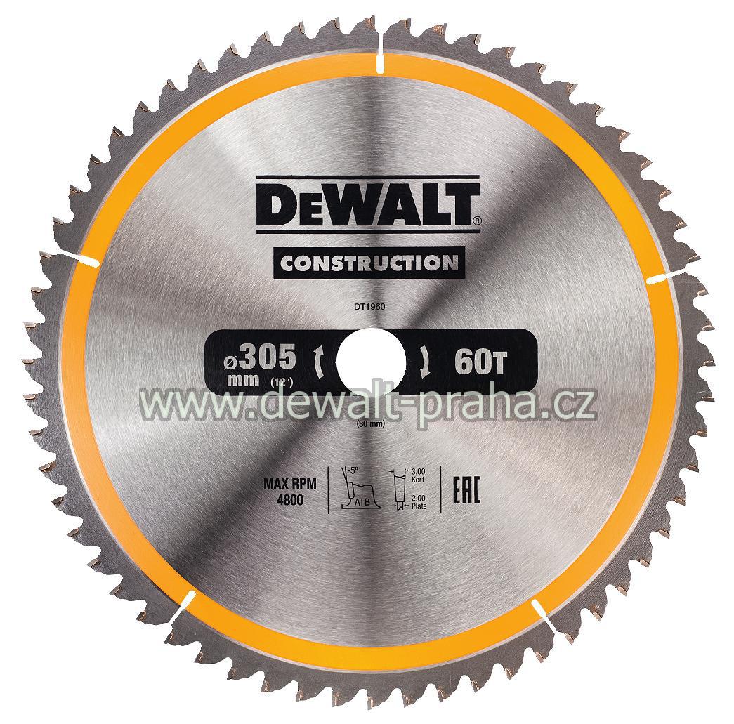 DT1960 DeWALT Pilový kotouč 305 x 30 mm na dřevo, 60 zubů