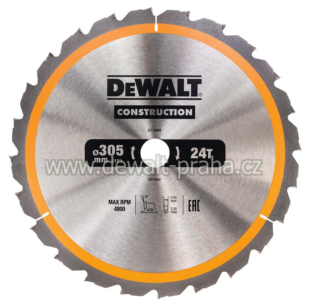 DT1958 DeWALT Pilový kotouč 305 x 30 mm na dřevo, 24 zubů