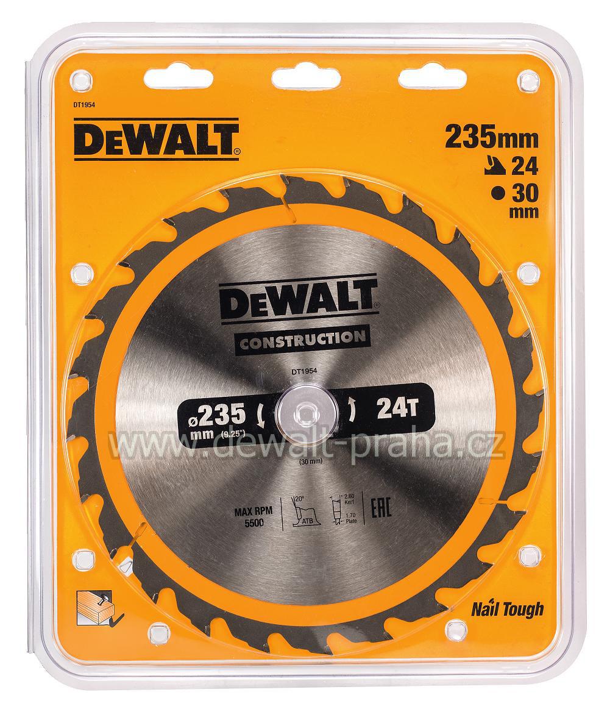 DT1954 DeWALT Pilový kotouč 235 x 30 mm, 24 zubů