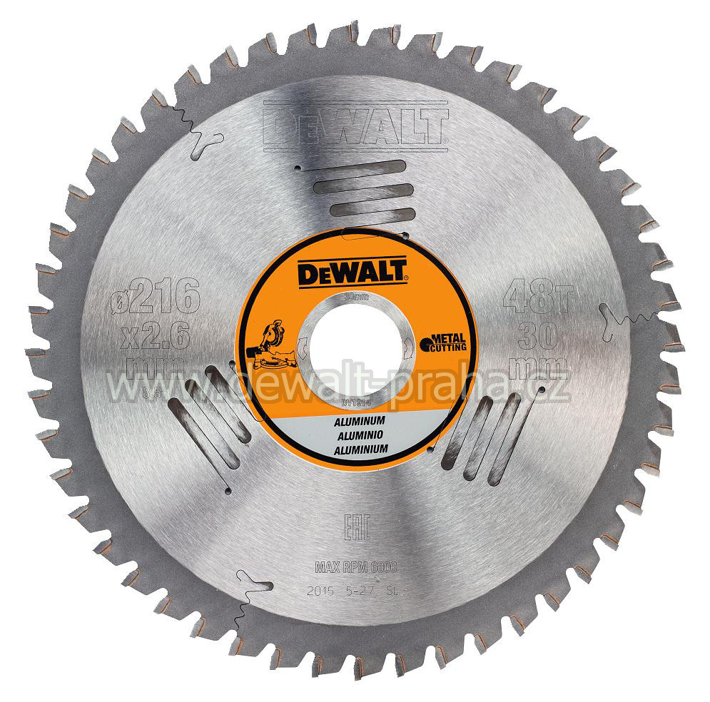 DT1914 DeWALT Pilový kotouč 216 x 30 mm na hliník, 48 zubů