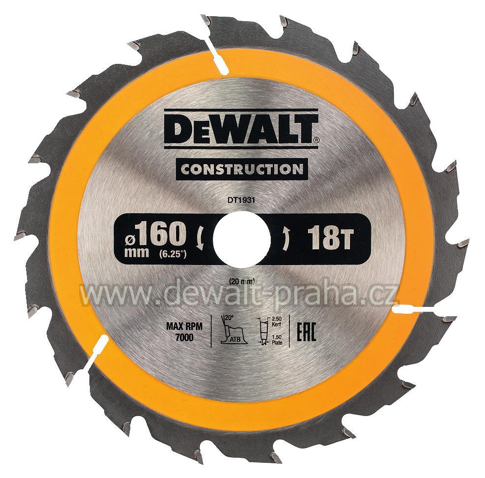 DT1931 DeWALT Pilový kotouč 160 x 20 mm, 18 zubů