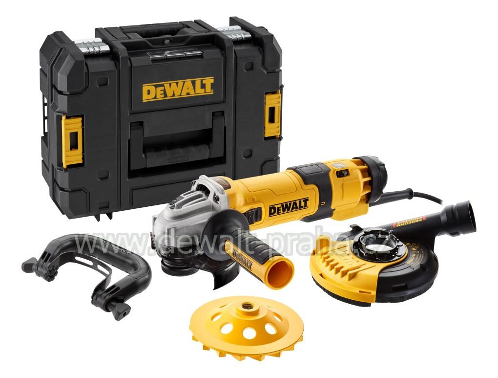 DWE4257B DeWALT úhlová bruska 125mm set na broušení betonu,regulace otáček kryt DWE46150 + diamantový kotouč 125mm DT3797