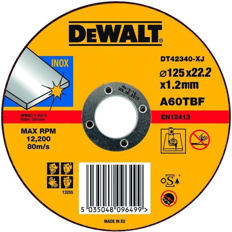 DT42340 Kotouč řezný 125 mm na nerez ocel, 125x1,2x22,2mm DeWALT