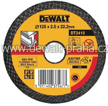 DT3410 Řezný kotouč na kov plochý 125 x 2,5 mm DeWALT