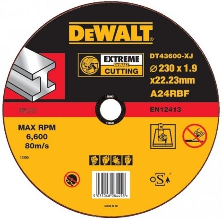 DT43600 Řezný kotouč Extreme na kov plochý 230 x 1,9 mm DeWALT