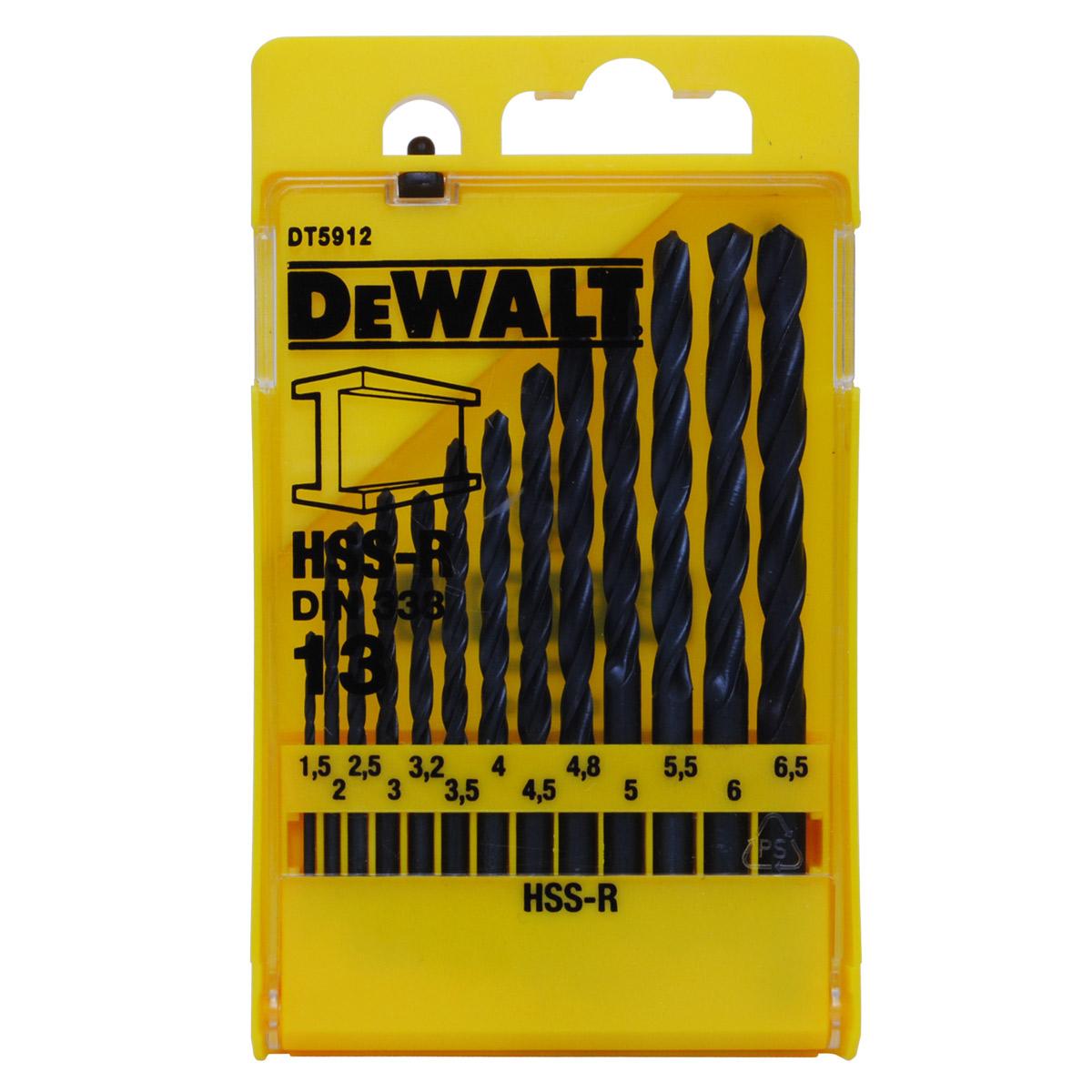 DT5912 DeWALT 13-ti dílná sada vrtáků do kovu HSS-R DIN 338
