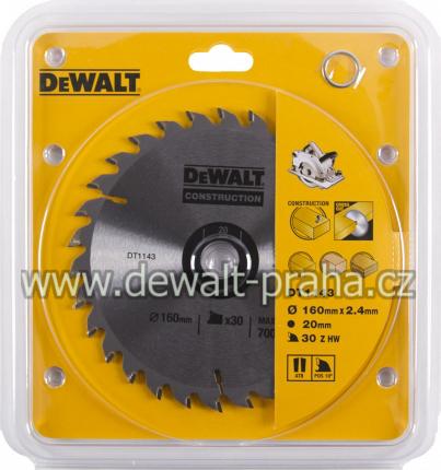 DT1143 DeWALT Pilový kotouč 160 x 20 mm, 30 zubů