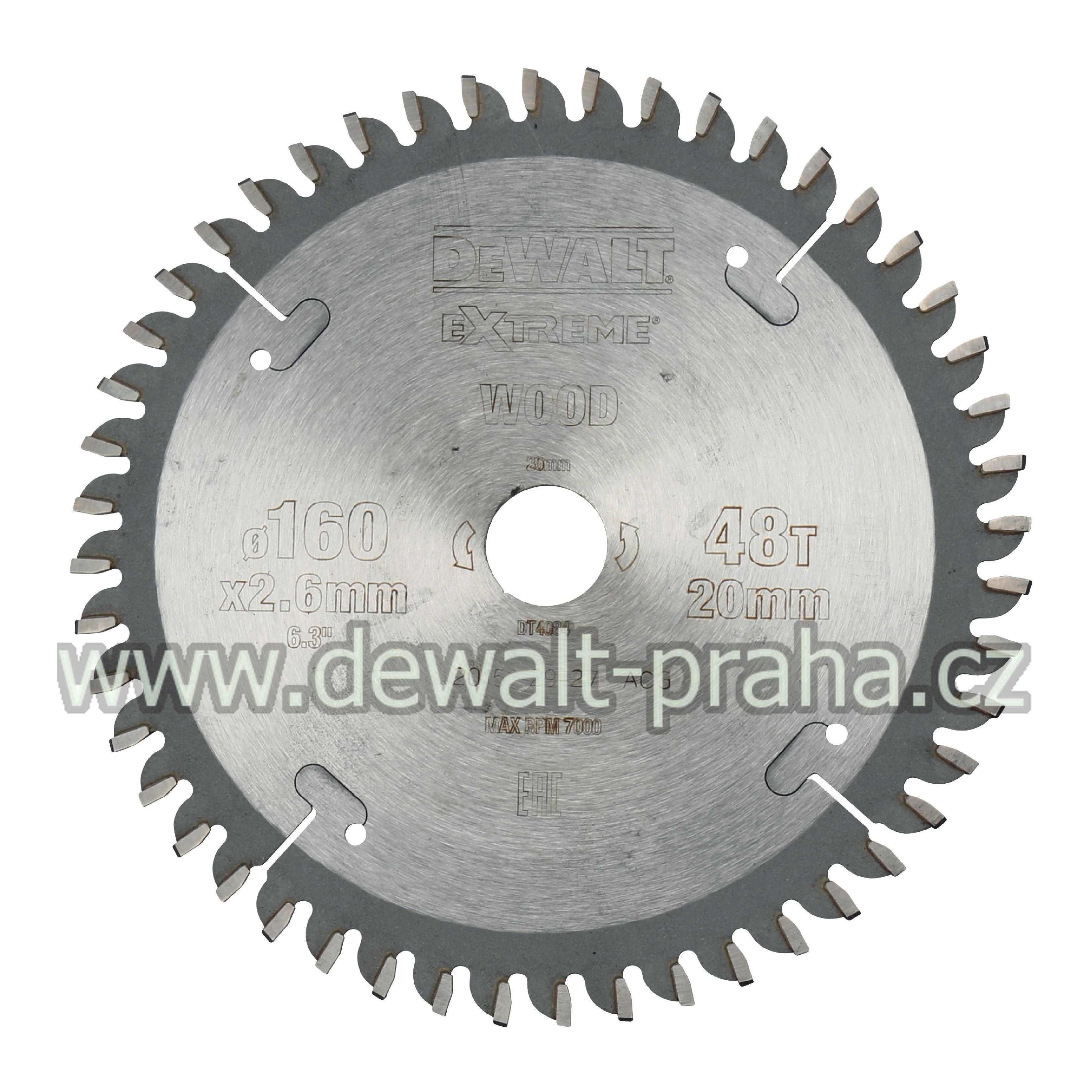 DT4084 DeWALT Pilový kotouč 160 x 20 mm, 48 zubů