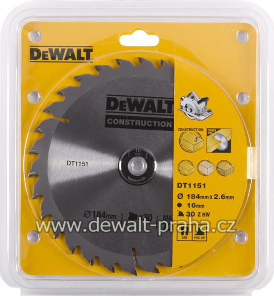 DT1151 DeWALT Pilový kotouč 184 x 16 mm, 30 zubů