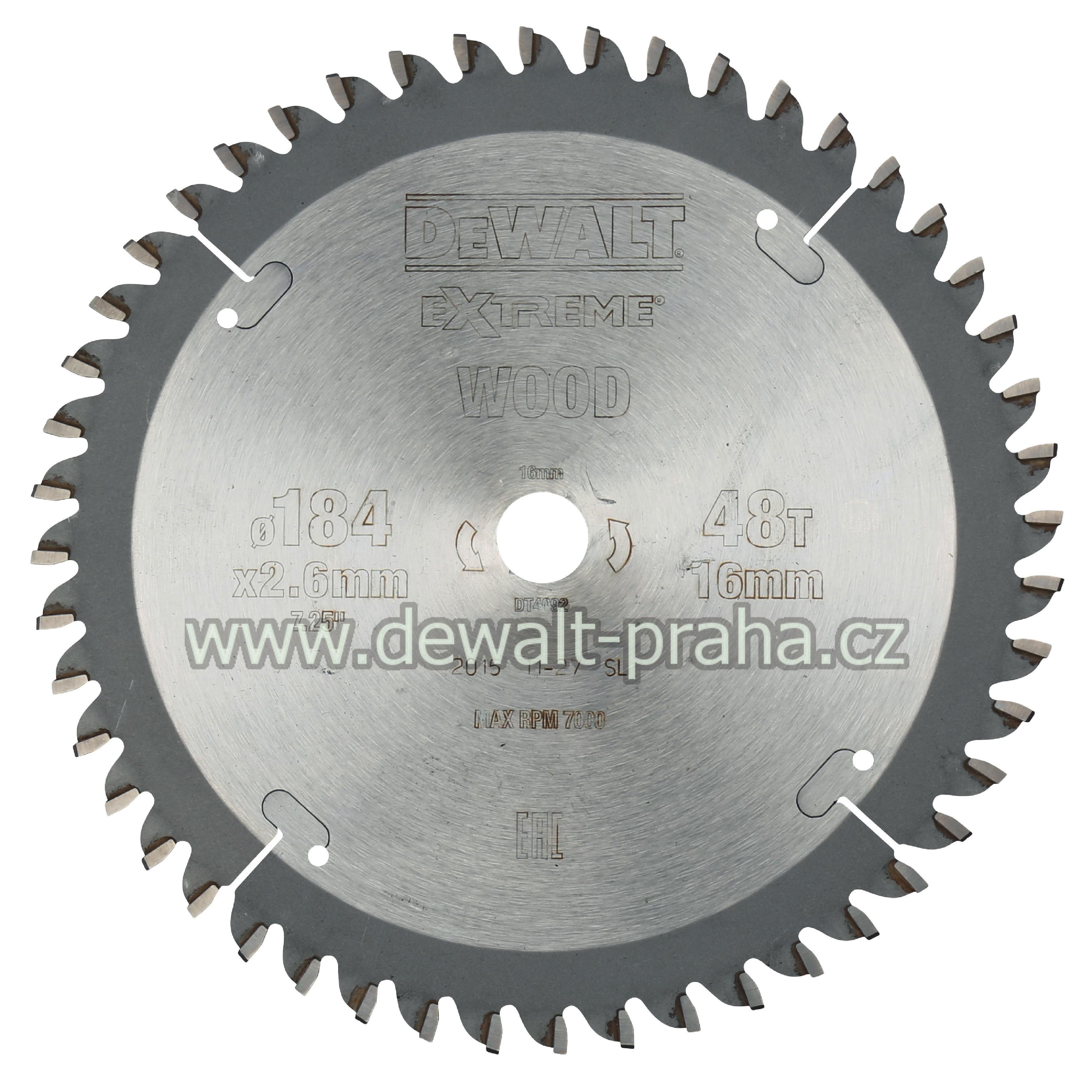 DT4092 DeWALT Pilový kotouč 184 x 16 mm, 48 zubů