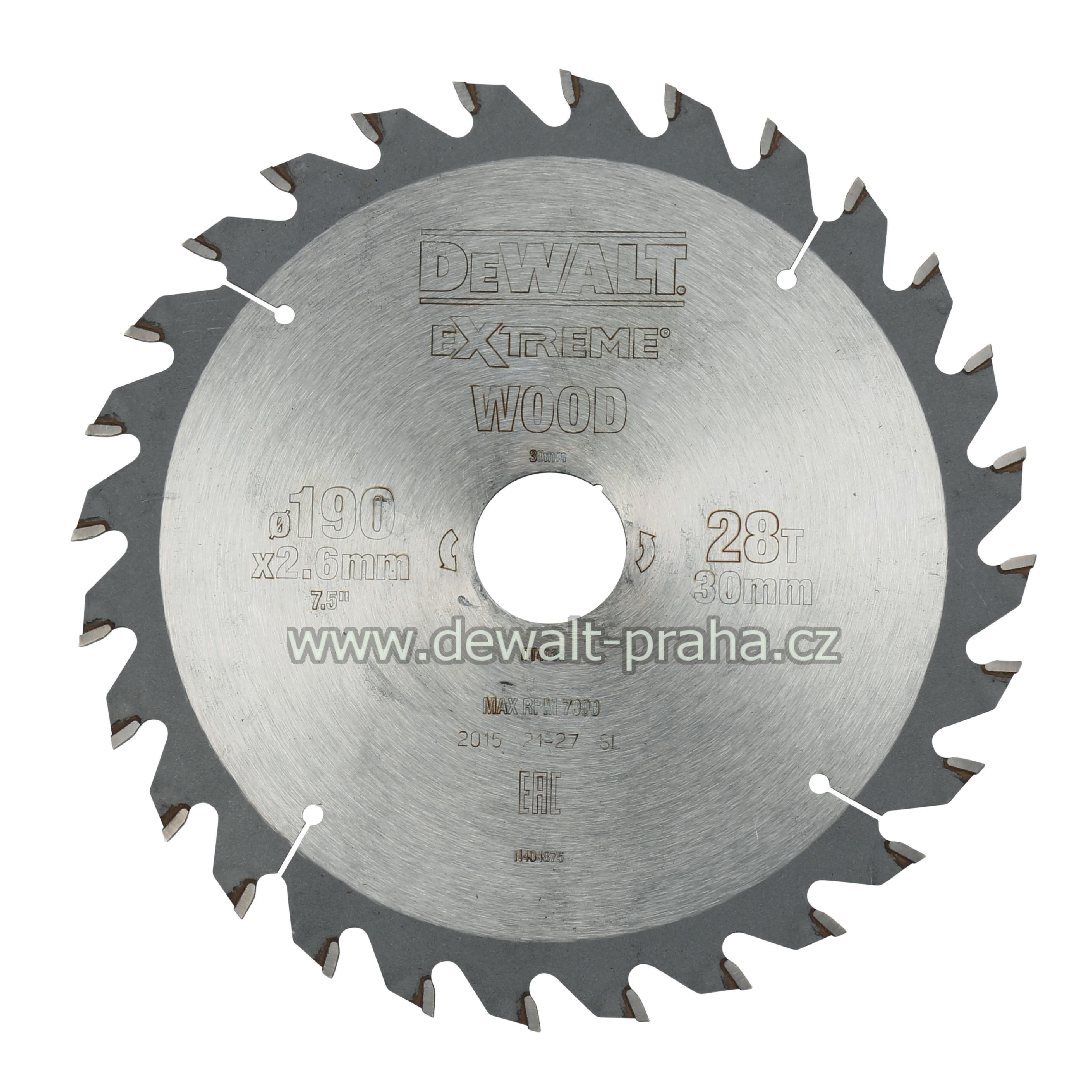 DT4033 DeWALT Pilový kotouč 190 x 30 mm, 28 zubů