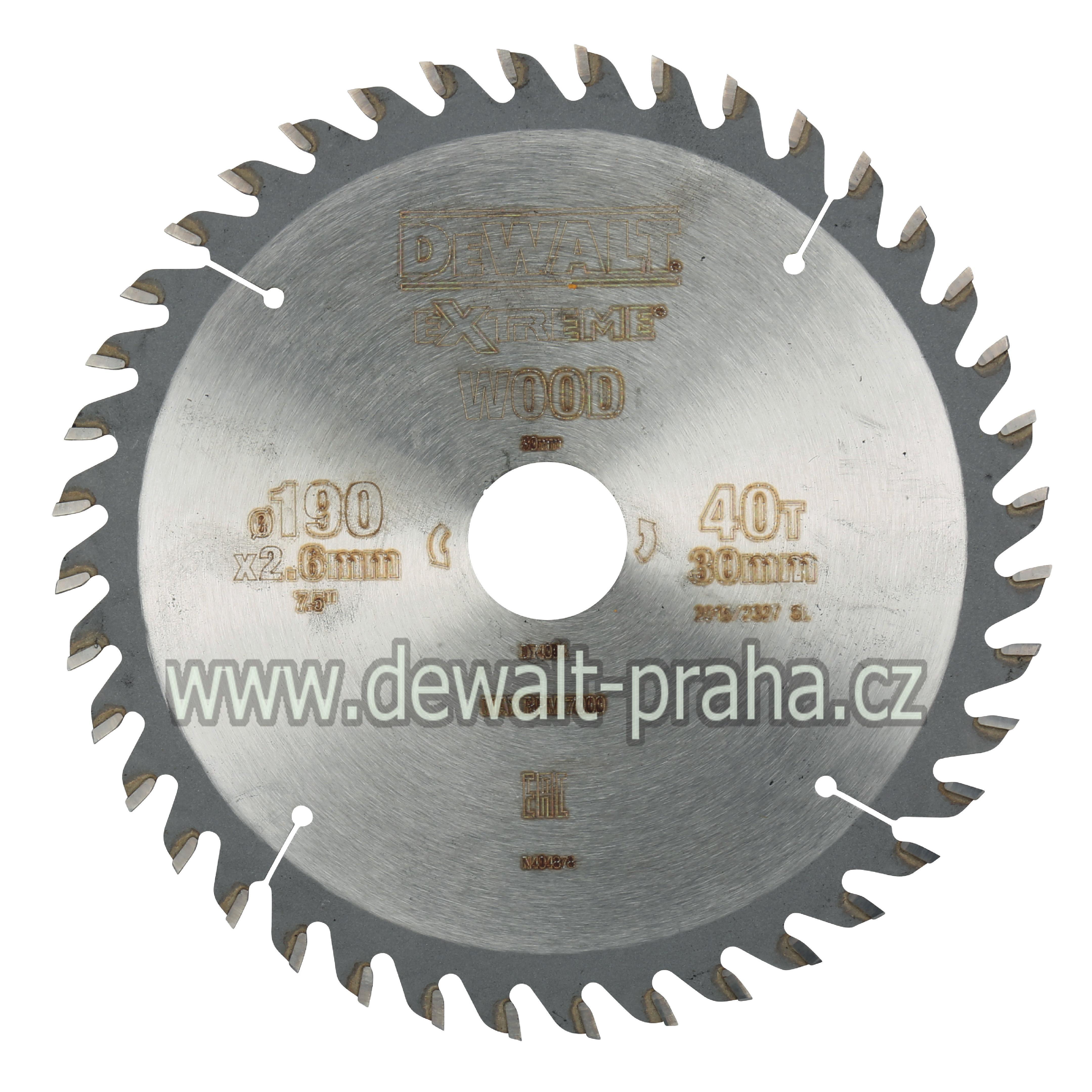DT4064 DeWALT Pilový kotouč 190 x 30 mm, 40 zubů