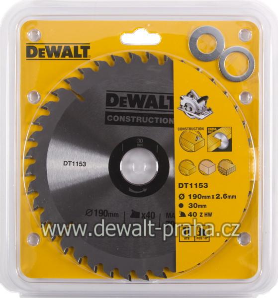 DT1153 DeWALT Pilový kotouč 190 x 30 mm, 40 zubů