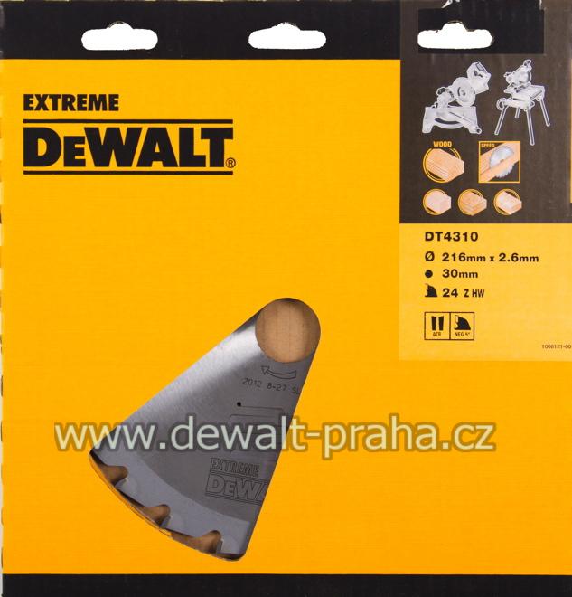 DT4310 DeWALT Pilový kotouč 216 x 30 mm, 24 zubů