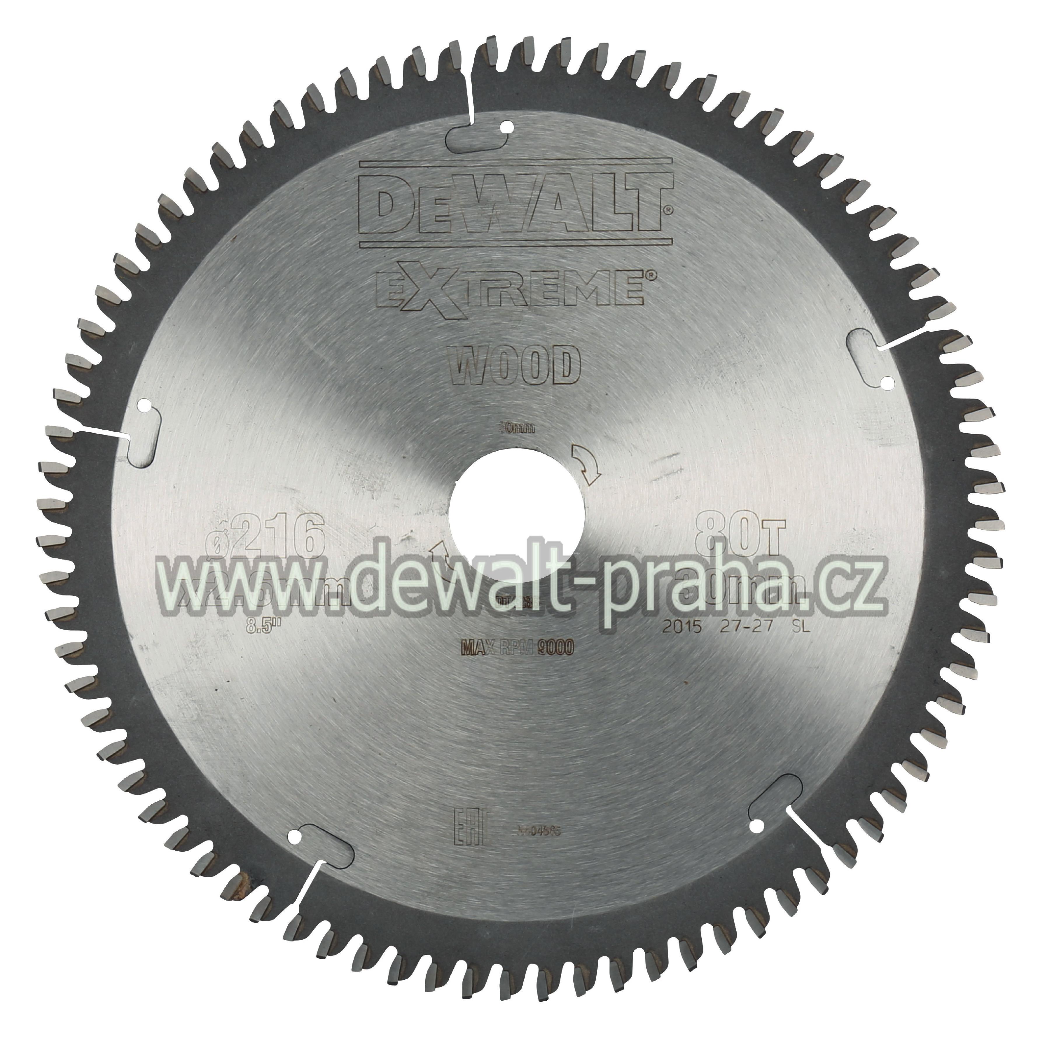 DT4286 DeWALT Pilový kotouč 216 x 30 mm, 80 zubů