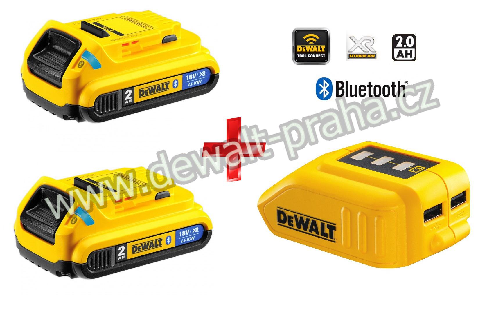 DCB283BC DeWALT Bluetooth Baterie 2x + USB Adaptér