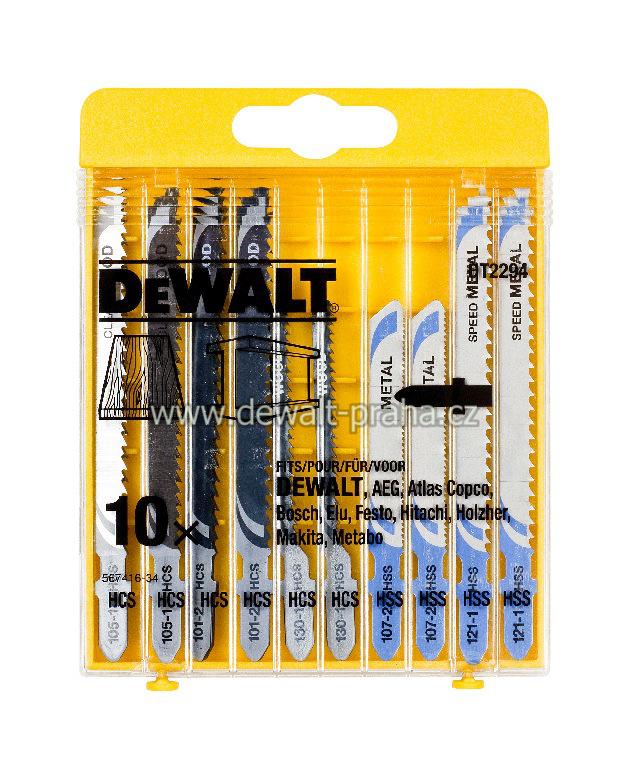 DT2294 DeWALT 10-dílná sada MIX plátků na dřevo a kov pro přímočarou pilu
