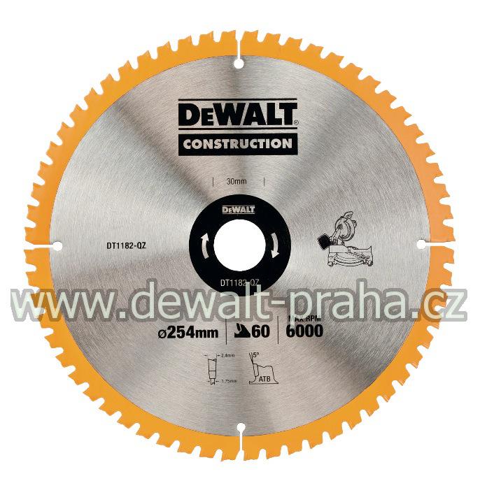 DT1182 DeWALT Pilový kotouč 254x30mm, 60 zubů
