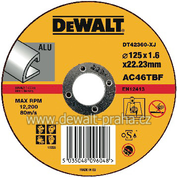 DT42360 DeWALT Kotouč řezný 125 mm na hliník plochý