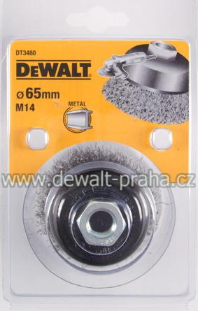 DT3480 DeWALT Drátěný kartáč talířový vlnité dráty, průměr 65 mm Kartáč pro úhlové brusky, délka 19 mm