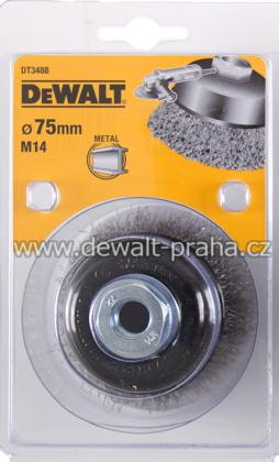 DT3488 DeWALT Drátěný kartáč talířový vlnité dráty, průměr 75 mm Kartáč pro úhlové brusky, délka 23 mm