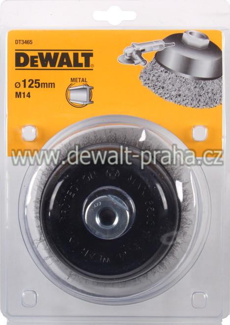DT3465 DeWALT Drátěný kartáč talířový vlnité dráty, průměr 125 mm Kartáč pro úhlové brusky, délka 26 mm