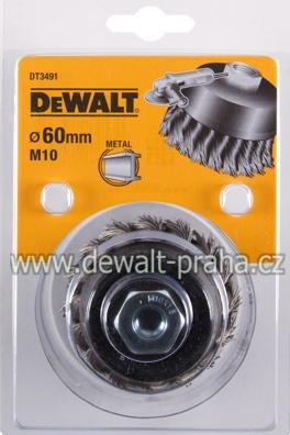 DT3491 DeWALT Drátěný kartáč s kroucenými uzly, průměr 60 mm Kartáč pro úhlové brusky, délka drátu 18 mm